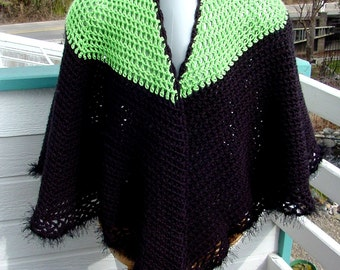 Cape Lime Green and Licorice - Handmade Crochet - Winter Fall Accessory