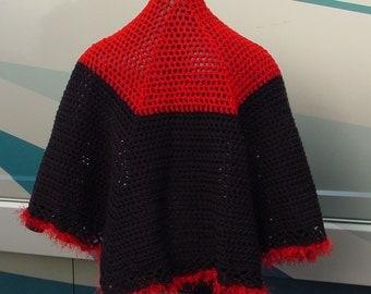 Red and Black Cape - Handmade Crochet - Wardrobe Accessory