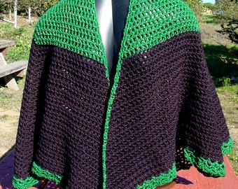 Cape Green Glitter and Black - Handmade Crochet - Accessory