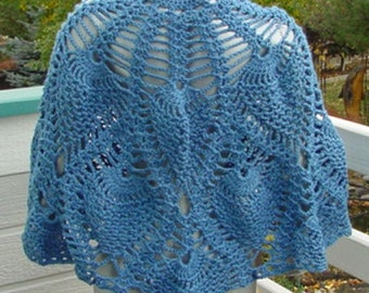 Blue Pineapple Shawl