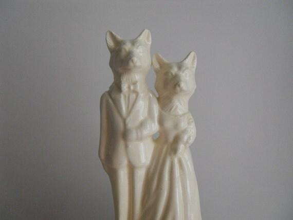 Fox Couple Wedding Cake Topper