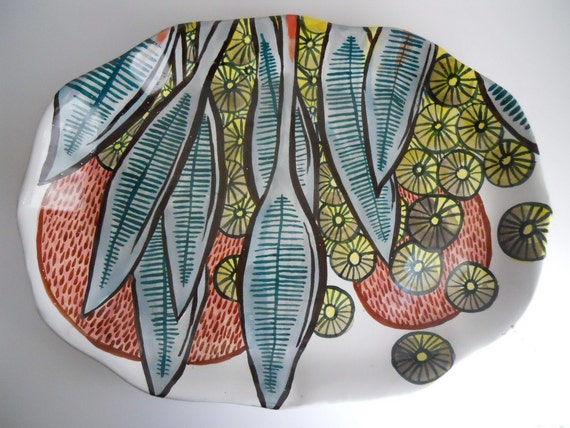 Majolica Platter    lots of painting color and pattern