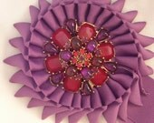 Royal Purple Rosette Brooch