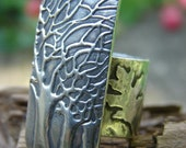 Tall Night Trees Ring in Fine Silver
