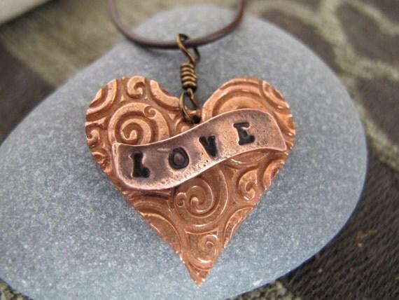 Big LOVE Copper Heart Pendant