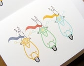 Scooter Bunny Notecards on Recycled Paper
