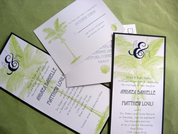 Palm Beach Wedding Invitation with response postcard