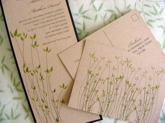 Wedding Invitations Recycled Paper: Green Garden Wedding Invitation On Recycled By TheKingsScribe