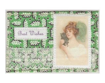 Best Wishes - Fabric Postcard - OOAK