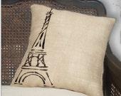 Eiffel Tower  - Burlap Feed Sack Pillow
