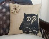 Owl - Burlap Feed Sack Pillow