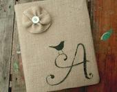 Bird Letter - Monogram Burlap Feed Sack Journal Cover w. Notebook