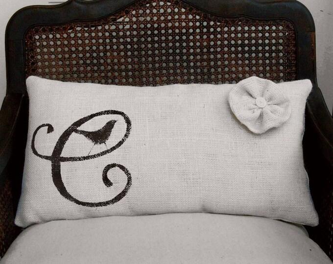 Bird Letter Custom Monogram  - Burlap Lumbar Pillow w/ Flower