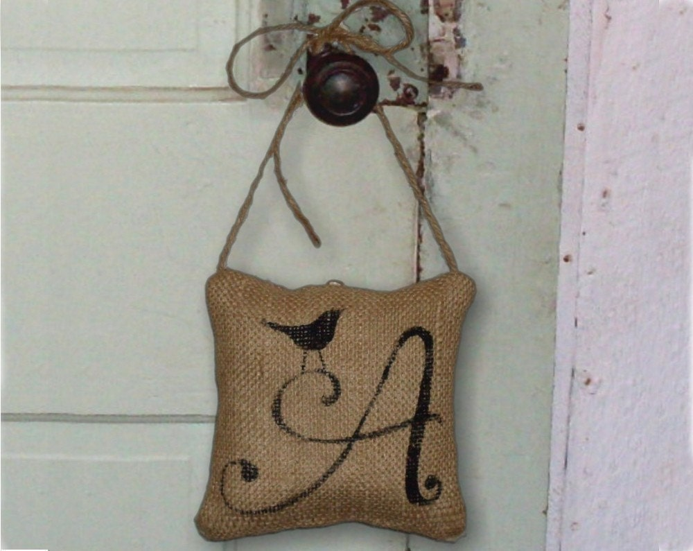 Bird Letter Custom Monogram Burlap Feed Sack Pillow Door