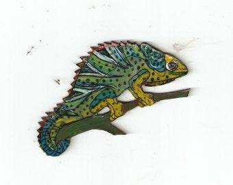 JACKSON'S CHAMELEON LIZARD reptile pin brooch