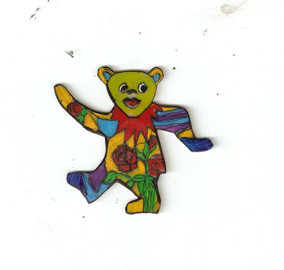 Grateful Dead dancing bear with rose pin pendent