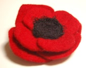 Felted Wool Red Poppy Flower Pin Brooch
