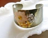 vintage garden party brooch metal cuff bracelet