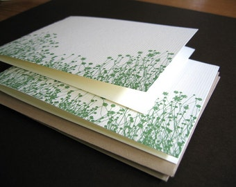 Green Flowers - set of 6 handmade cards