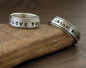 Handmade Spinner Ring in Sterling Silver - Say what YOU want on this ring - in Uppercase Block Font