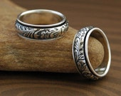 Spinner Ring - Floral and Scroll in Sterling Silver - Made to Order - Free Shipping in the U.S.