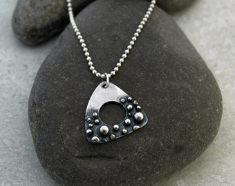 Silver Guitar Pick Necklace with Organic Texture - Made Upon Order