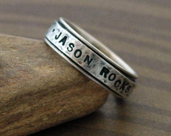 Distressed Text Spinner Ring in Sterling Silver - Say what YOU want on this hand stamped ring with Uppercase Block Font