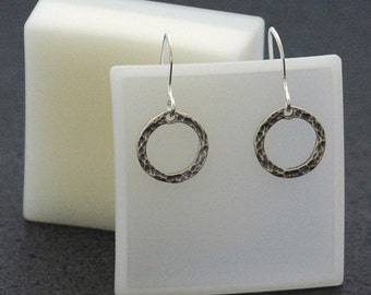 Petite Circle Earrings with Forged Texture in Sterling Silver - Ready to Ship