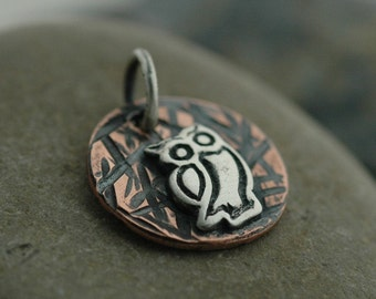 Small Owl Charm/Pendant in Copper and Sterling Silver - Hand Fabricated