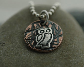 Small Owl on Textured Copper - Sterling Silver Ball Chain Included - Made to Order