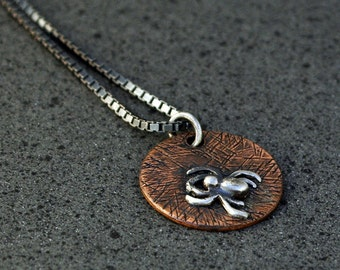 Spider in Sterling Silver on Copper - Charm or Pendant
