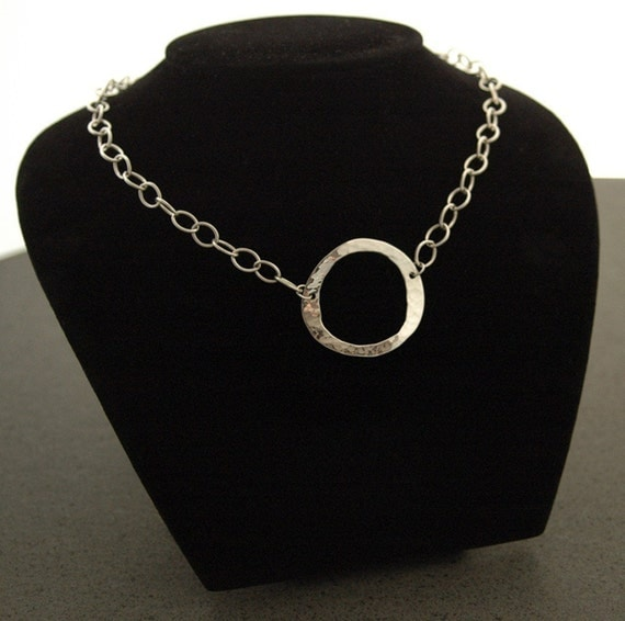 Forged Circle Necklace in Sterling Silver - Adjustable Length