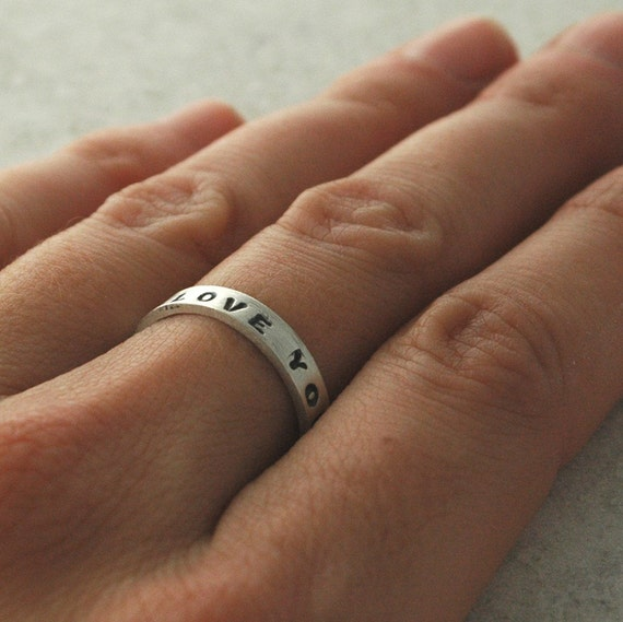 Handmade Ring - Say What YOU Want... Custom Sterling Silver Stamped Band with Block Uppercase Font - Made to Order