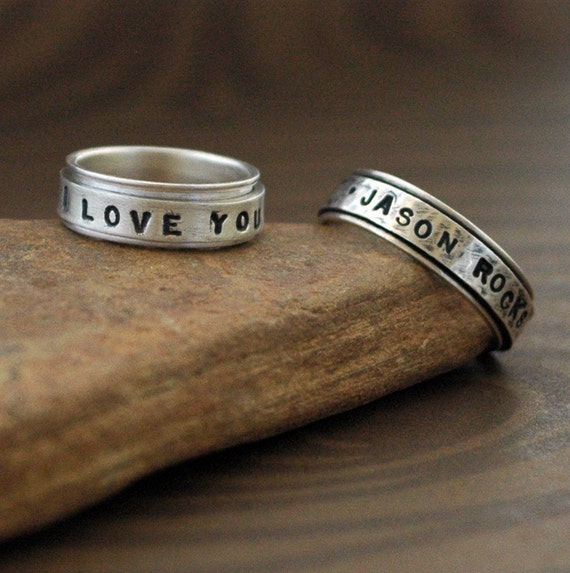 handmade spinner ring in sterling silver say what by