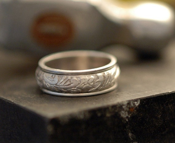 Floral Spinner Ring in Polished Sterling Silver - Made to Order - Free Shipping in the U.S.