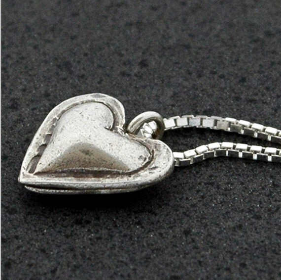 Heart Pillow Pendant in Sterling Silver - Ready To Ship
