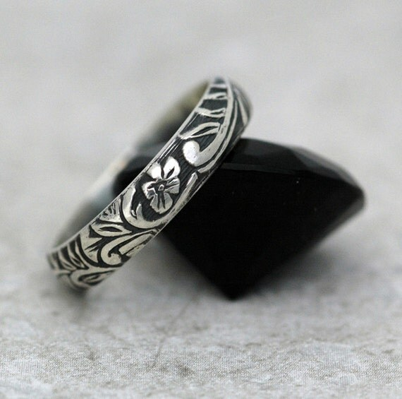 Floral and Scroll Ring in Sterling Silver - Made to Order - Free Shipping in the U.S.