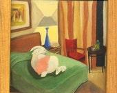 Rabbit Motel sleeper - small framed print of original painting