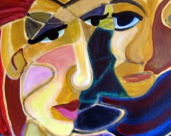 21 x 20 Original painting, abstract, modern art, a couple in love, intense, expressive, emotion
