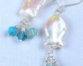 Little Fishies Pearl and Swarovski Earrings - 531