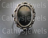 Lacy Ring Base Mounting Bezel Setting Antiqued Silver Adjustable