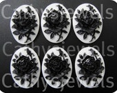 Cameos  Unset Black Rose on White Portraits Set Of Six 25x18