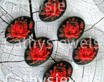 Set of Six  18X13mm Portrait Rose Cameos