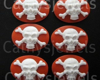 White Skull and Crossbones Cameos On Red
