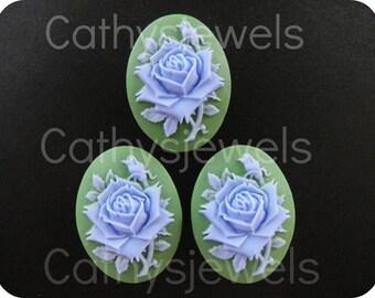Portrait Cameos  Blue Rose On Green 40x30 Set Of Three