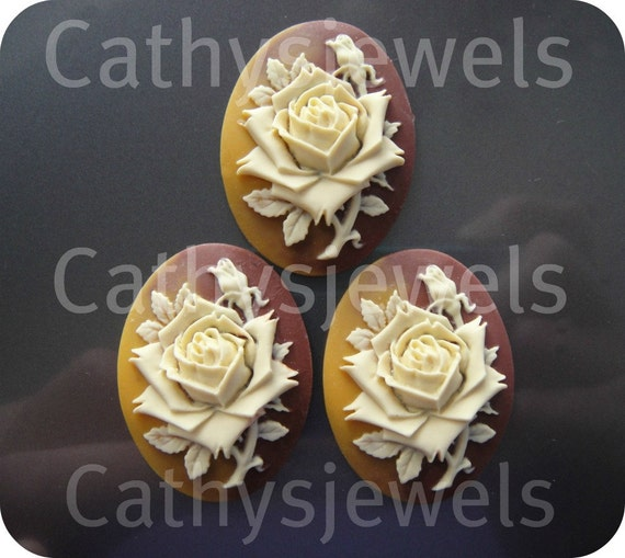 Fall Colors Rose Portrait Cameos Set Of Three