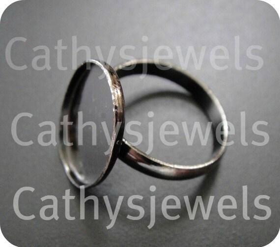 Ring Base Mounting Bezel Setting Antiqued Silver Adjustable Set Of Six