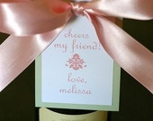 Personalized Wine Tags - Pink