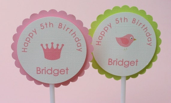 Personalized Cupcake Toppers - Set of 12 - Crown or Birdie