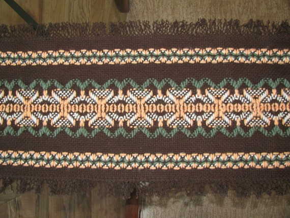 to Fall Table Runner-Swedish Weaving-Brown Monk's Cloth-Orange, Off ...